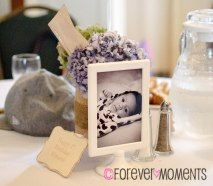 Vintage Inspired 1st Birthday centerpiece with Mason Jar and frame. Forever Moments Events