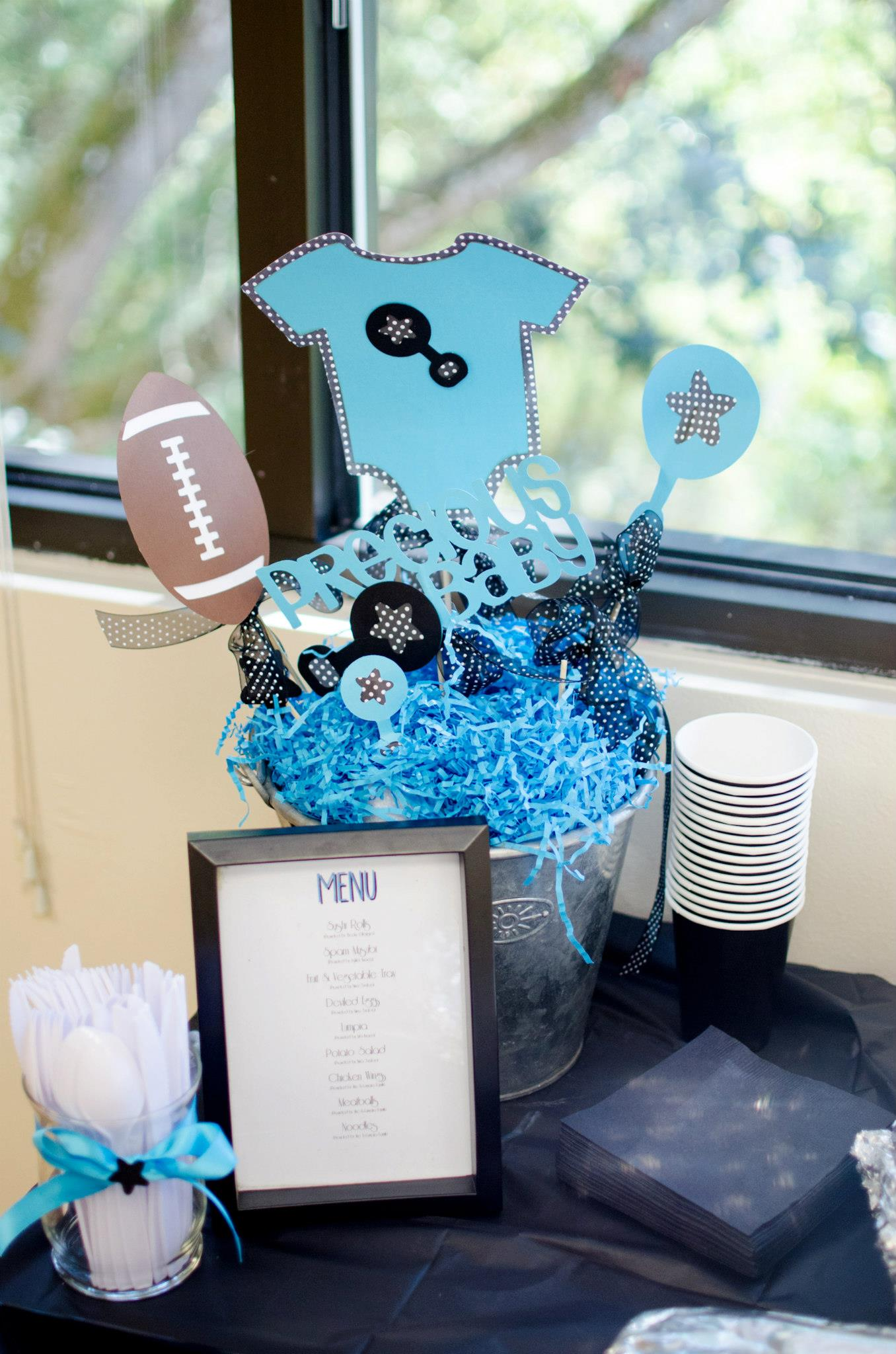 black onesie centerpiece baby shower decorations forevermoments