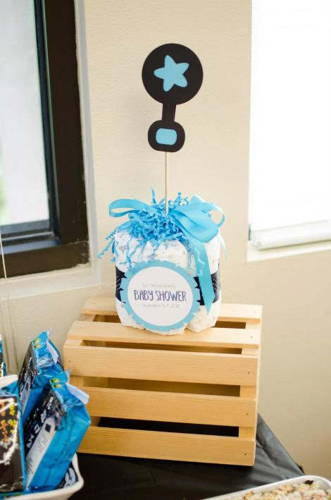 Baby Shower Decor Blue and black diaper centerpiece