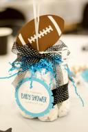 Turquoise & Black Football & Stars Baby Shower Decorations Diaper Centerpiece