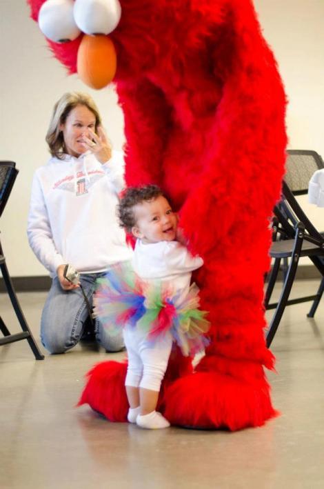 Elmo with birthday Girl